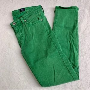 AG Stevie Slim Straight Ankle Green Jeans